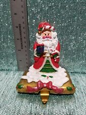 Christmas Stocking Holder Hanger Mantle Santa Resin w/Cast Base Retract Hook