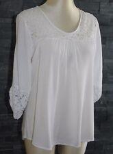 Vêtement femme : jolie tunique T 42  FORMUL manches 3/4, blanche avec broderies