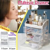 Plastic Cosmetic Makeup Drawer Organizer Storage Box Container Desktop Clear New