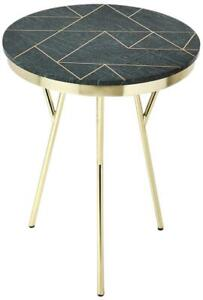ACCENT TABLE CONTEMPORARY METALWORKS GREEN BRASS DISTRESSED IRON METAL INL