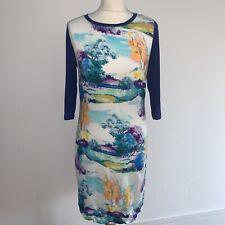 Oliver Bonas Poem Blue Multi Watercolour Impressionist Viscose Shift Dress 10