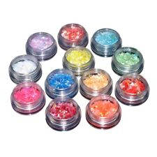 12Color Gel Nail Art Glitter Iridescent Ice Mylar Sheet Flakes Decor