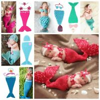 Newborn Baby Photography Knit Mermaid Tail Headband Costume Photo Props Outfits
