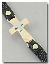 Double Cross Bracelet on Black Pebbled Leatherette Band