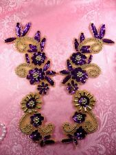 "0183 Appliques Purple and Gold Mirror Pair Sequin Beaded 10""  Set Floral"