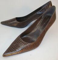 Bandolino Womens Pumps Heels US 7 M Brown Snake Embossed Leather Slip-on 5062