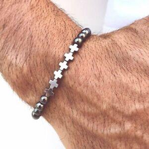 Cross Hematite Beads Stretch Health Care Bracelet Therapy Bangle Men Jewelry Hot