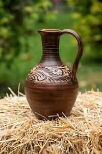 Handmade Jug Of Clay Vessel Ewer For Wine Water Juice Milk Vodka Pitcher Jugful