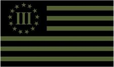 """1 - 5"""" x 3"""" 3 Percenter Olive Green/Black Subdued Flag Decal Sticker R"""