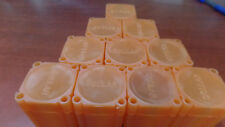 10 Burnt Orange / Amber Large Silver Dollar Coin Size Safe Plastic Square Tubes