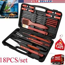 18 Pieces BBQ Barbecue Tool Set Grill Grilling Cooking Tools Stainless Steel NEW