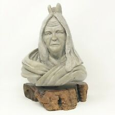 Vintage Ron Schroder Signed and Numbered- Carved Stone Woman Bust on Drift Wood