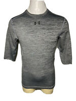 Under Armour Large L Gray Black Heathered COLD GEAR Men's Compression Gym Shirt