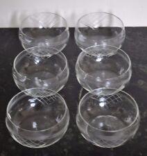 Vintage Handcut Glass Dessert Bowls Six (6)