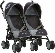 Twin Dolls Double Pram Pushchair Retractable Twin Hoods with Shopping Baskets