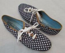 KEDS womens 8 navy blue white polka dot canvas sneakers shoes MINT