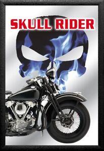 Skull Rider Motorcycles Nr. 4 Nostalgie Barspiegel Spiegel Bar Mirror 22 x 32 cm
