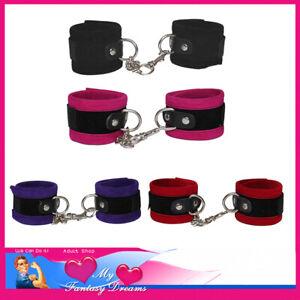 Handcuffs Velveteen Premium Quality Chains D Rings Restraints Valcro Submissive