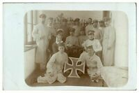 Antique WW1 military RPPC postcard German soldiers & nurse
