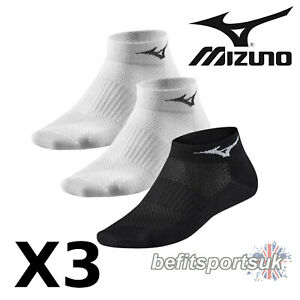 MIZUNO WOMENS LADIES CUSHIONED FITNESS RUNNING SPORTS ANKLE SOCKS 3 PAIR 3 4 5 6