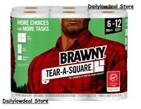 Brawny Tear-A-Square Paper Towels, 6 Double Rolls - FAST SHIPPING