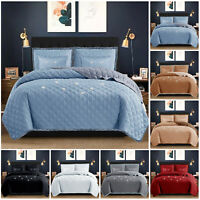 New 5 pcs Embossed Bedspread Quilted Throw Single Double King Size Comforter Set