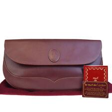 Authentic Must De Cartier 2C Clutch Hand Bag Leather Bordeaux Italy 66EF051