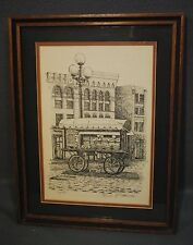 Seattle Pioneer Square, w/Cart  SIGNED & #'d  Art Print By Don R Morrow, Framed