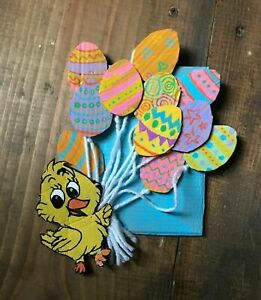 Handmade Easter Decoration-Home Decor-Upcycled-Painted Eggs-Ballons-Baby Chick