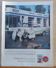 1957 magazine ad for Gulfpride Oil - service station, customers & car in white