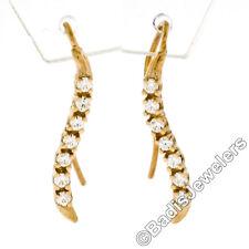 New 14K Yellow Gold 0.22ctw Round Diamond Petite Wavy Drop Dangle Hook Earrings