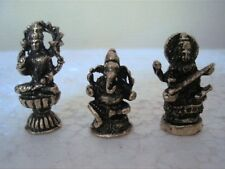 Ganesh Lekshmi Saraswathi 3 MINI AMULET STATUE FIGURE Ganesha Sculpture