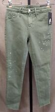 NEW Mossimo Denim Misses Size 0 25R Green Jegging Jeans High Rise Crop Splatter
