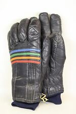Mens Large Pair of Vintage Grandoe Black Gloves w/ Rainbow Colored Stripes Pride