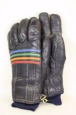 Mens Large Pair of Vintage Grandoe Black Gloves w/ Rainbow Colored Stripes Pride