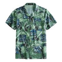 Men Hawaiian Print Shirt Short Sleeve Casual Loose Top Tropical Beach Collar Tee