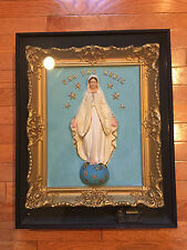 Spectacular Virgin Mary Hand Painted Religious Statue Icon Framed In Musical Box