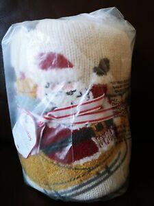 Pottery Barn Kids Scenic Santa Heirloom Baby Toddler Blanket Christmas Red Gift
