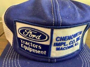NOS 70-80' Ford Tractors Equipment Farmer Trucker Hat Patch Mesh Cap K-Brand USA