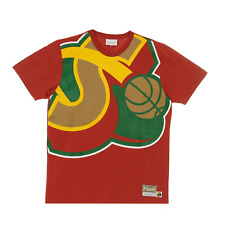Mitchell & Ness Red NBA Seattle Supersonics Big Face T-Shirt