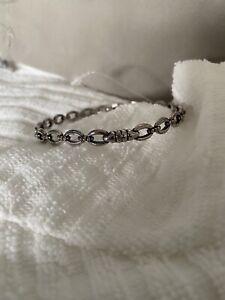 $300 LAGOS Sterling Silver Signature Caviar Oval Link Bangle Bracelet Size M