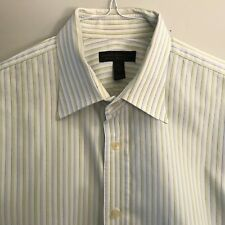EXPRESS Mens White Green Blue Dress Shirt - Size XL 17-17 1/2 - Classic Fit