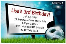 1 x SOCCER BOYS CHILDRENS BIRTHDAY PERSONALISED INVITATIONS + FREE MAGNETS