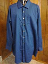 Mens 18 1/2 Tall 35/36 Van Heusen Dk Blue Lux Sateen LS Dress Shirt