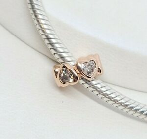 🌹 Rose Gold Cz Heart Spacer Charm Add On Sterling Silver Pandora Bracelet
