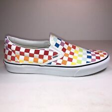Vans Mens Size 11 Classic Slip On Rainbow Checkerboard Sneakers New VN0A3UT7U09
