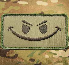 EVIL SMILEY SMILE FACE TACTICAL MORALE ISAF ARMY MILSPEC MULTICAM HOOK PATCH