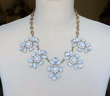 Lovely Plastic Rhinestone on Gold Metal Linked Chain Statement Necklace