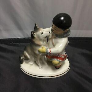 Antique Lomonosov Porcelain Figurine Boy And Husky USSR 1960-1990