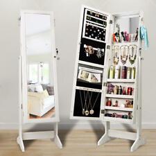 Jewelry Cosmetic Mirror Cabinet Storage Lockable Floor Standing Wooden Organizer